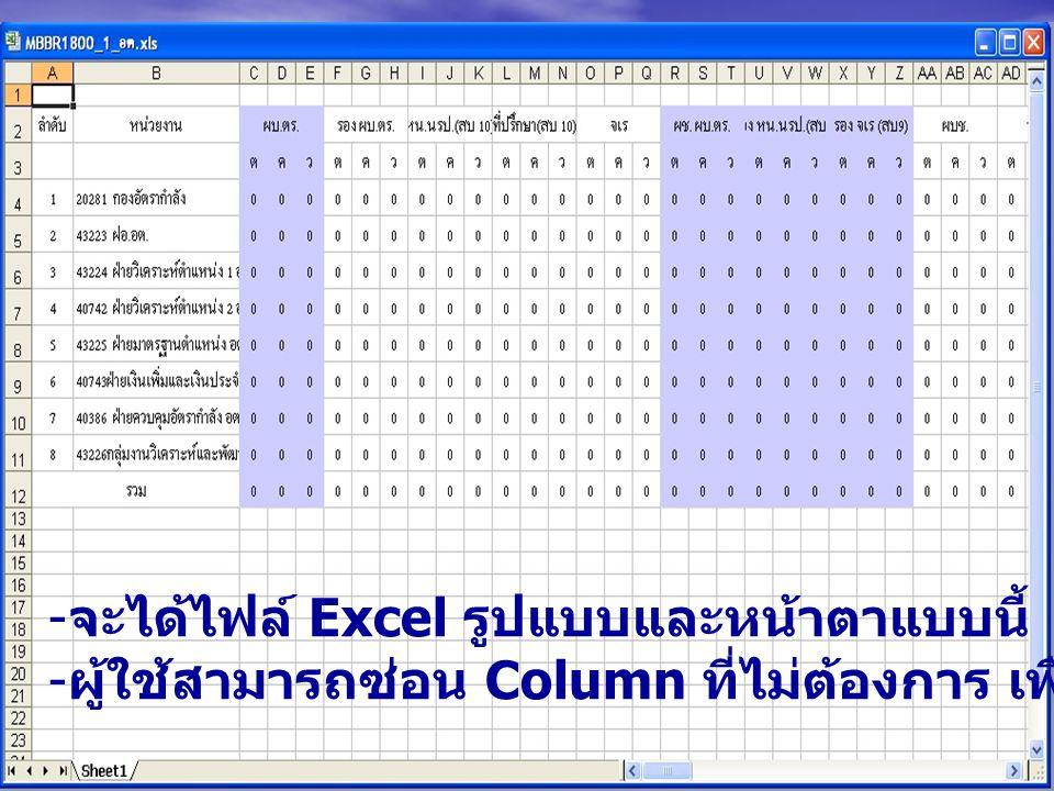 - จะได้ไฟล์ Excel รูปแบบและหน้าตาแบบนี้ - ผู้ใช้สามารถซ่อน Column ที่ไม่ต้องการ เพื่อให้หน้าจอกระชับลงได้
