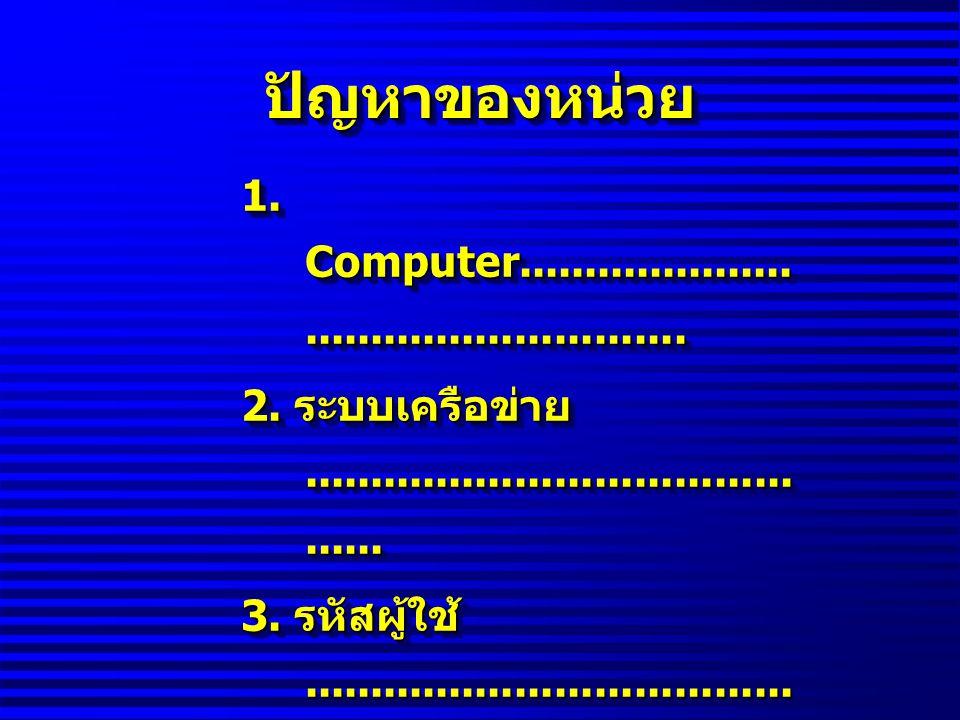 ปัญหาของหน่วยปัญหาของหน่วย 1. Computer.................................................. 2. ระบบเครือข่าย........................................... 3