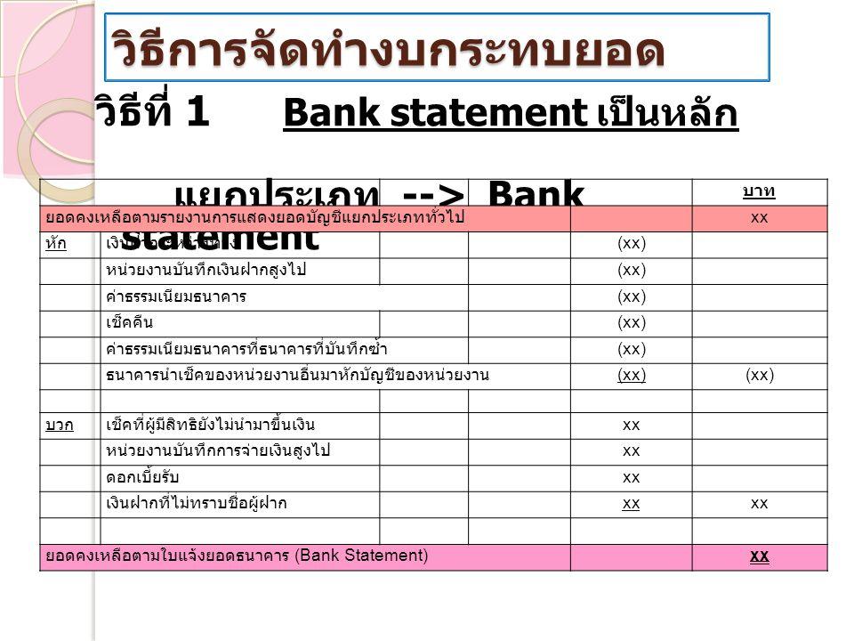 วิธีการจัดทำงบกระทบยอด วิธีที่ 1 Bank statement เป็นหลัก แยกประเภท --> Bank statement