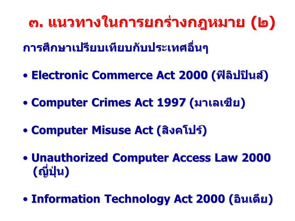 บทกำหนดโทษ ฐานความผิดโทษจำคุกโทษปรับ มาตรา ๕ เข้าถึงคอมพิวเตอร์โดยมิชอบ ไม่เกิน ๖ เดือน ไม่เกิน ๑๐,๐๐๐ บาท มาตรา ๖ ล่วงรู้มาตรการป้องกัน ไม่เกิน ๑ ปี ไม่เกิน ๒๐,๐๐๐ บาท มาตรา ๗ เข้าถึงข้อมูลคอมพิวเตอร์โดยมิชอบ ไม่เกิน ๒ ปี ไม่เกิน ๔๐,๐๐๐ บาท มาตรา ๘ การดักข้อมูลคอมพิวเตอร์ ไม่เกิน ๓ ปี ไม่เกิน ๖๐,๐๐๐ บาท มาตรา ๙ การรบกวนข้อมูลคอมพิวเตอร์ ไม่เกิน ๕ ปี ไม่เกิน ๑๐๐,๐๐๐ บาท มาตรา ๑๐ การรบกวนระบบคอมพิวเตอร์ มาตรา ๑๑ สแปมเมล์ ไม่เกิน ๕ ปี ไม่มี ไม่เกิน ๑๐๐,๐๐๐ บาท มาตรา ๑๒ การกระทำต่อความมั่นคง (๑) ก่อความเสียหายแก่ข้อมูลคอมพิวเตอร์ (๒) กระทบต่อความมั่นคงปลอดภัยของประเทศ/เศรษฐกิจ วรรคท้าย เป็นเหตุให้ผู้อื่นถึงแก่ชีวิต ไม่เกิน ๑๐ ปี ๓ ปี ถึง ๑๕ ปี ๑๐ ปี ถึง ๒๐ ปี + ไม่เกิน ๒๐๐,๐๐๐ บาท ๖๐,๐๐๐-๓๐๐,๐๐๐ บาท ไม่มี มาตรา ๑๓ การจำหน่าย/เผยแพร่ชุดคำสั่ง ไม่เกิน ๑ ปี ไม่เกิน ๒๐,๐๐๐ บาท มาตรา ๑๔ การเผยแพร่เนื้อหาอันไม่เหมาะสม ไม่เกิน ๕ ปี ไม่เกิน ๑๐๐,๐๐๐ บาท มาตรา ๑๕ ความรับผิดของ ISP ไม่เกิน ๕ ปี ไม่เกิน ๑๐๐,๐๐๐ บาท ไม่เกิน ๑๐๐,๐๐๐ บาท มาตรา ๑๖ การตัดต่อภาพผู้อื่น ถ้าสุจริต ไม่มีความผิด ถ้าสุจริต ไม่มีความผิด ไม่เกิน ๓ ปี ไม่เกิน ๖๐,๐๐๐ บาท