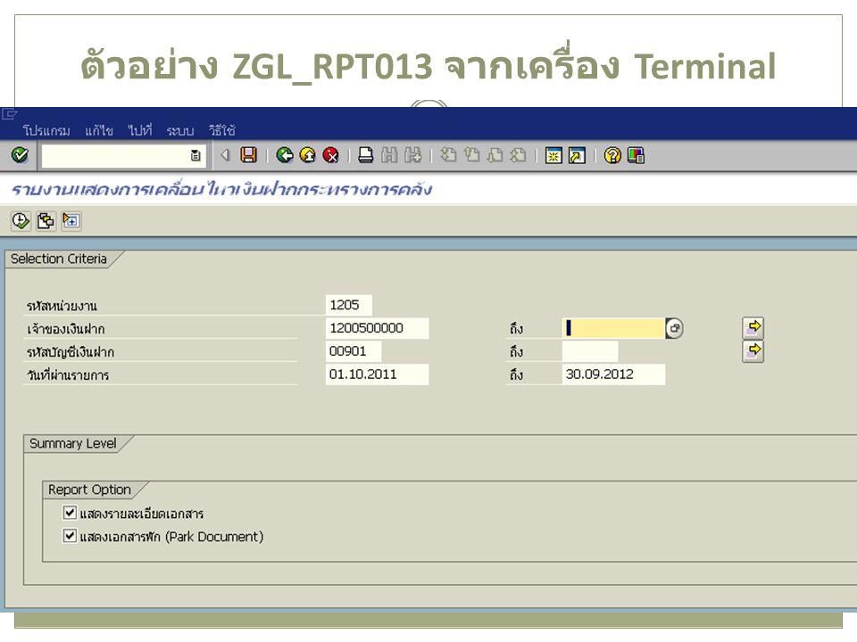 ตัวอย่าง ZGL_RPT013 จากเครื่อง Terminal 17