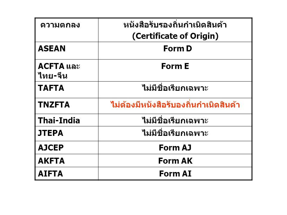 ความตกลงหนังสือรับรองถิ่นกำเนิดสินค้า (Certificate of Origin) ASEAN Form D ACFTA และ ไทย-จีน Form E TAFTAไม่มีชื่อเรียกเฉพาะ TNZFTAไม่ต้องมีหนังสือรับ