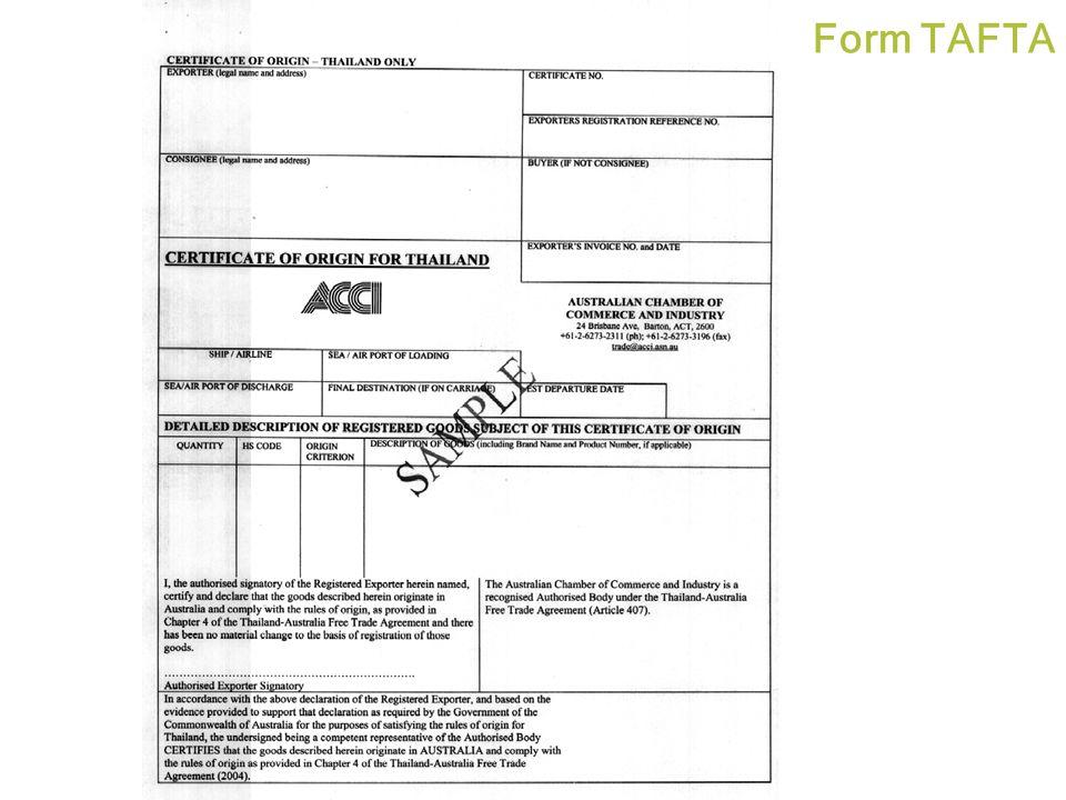 Form TAFTA