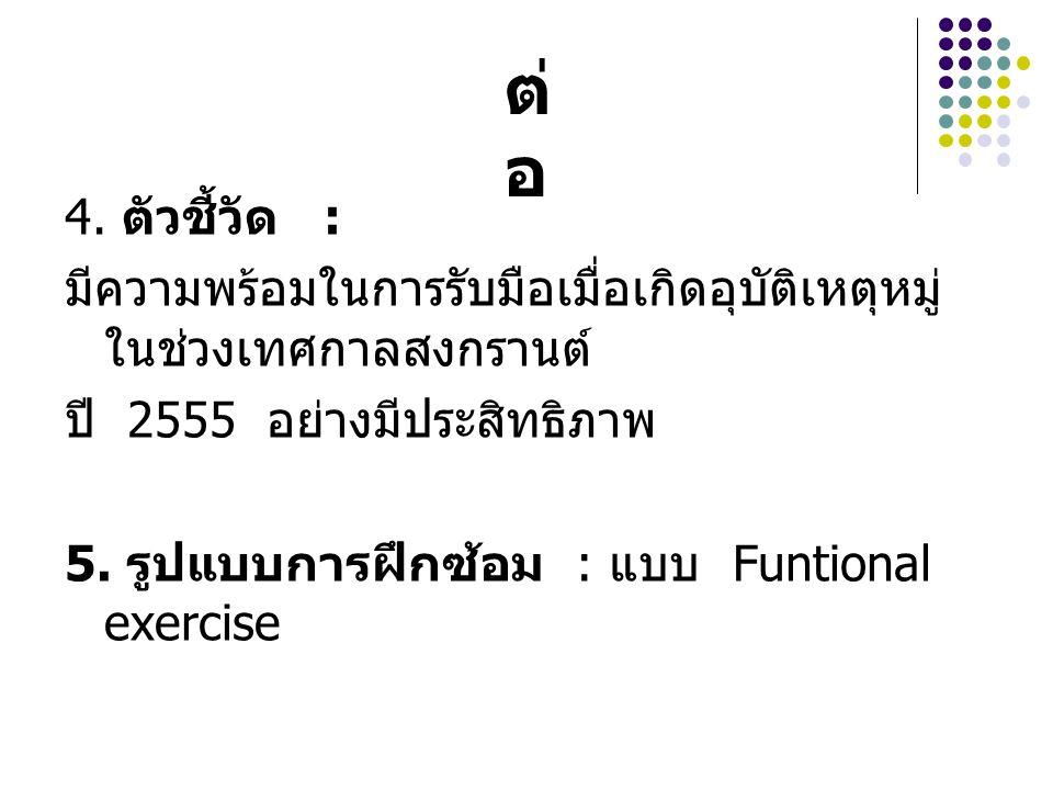 4. ตัวชี้วัด : มีความพร้อมในการรับมือเมื่อเกิดอุบัติเหตุหมู่ ในช่วงเทศกาลสงกรานต์ ปี 2555 อย่างมีประสิทธิภาพ 5. รูปแบบการฝึกซ้อม : แบบ Funtional exerc