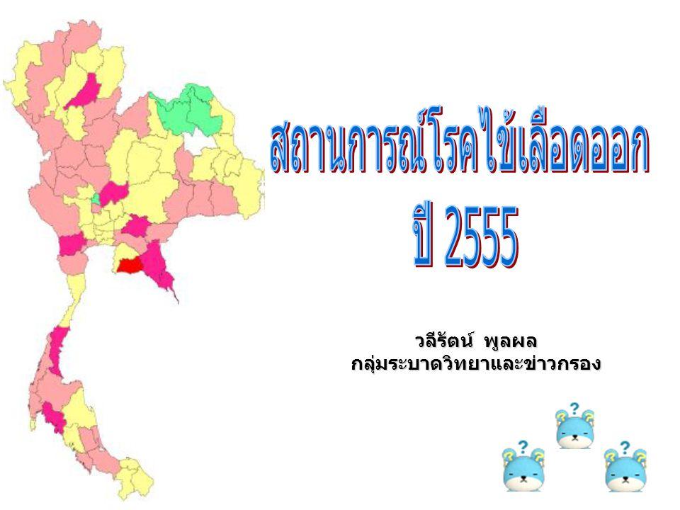 สถานการณ์โรคไข้เลือดออกในประเทศไทย ปี 2555 ณ วันที่ 4 พย 55 (สัปดาห์ที่ 45) Pt สะสม DHF+DF+DSS รวม 59,012 ราย อัตราป่วย 92.90 /แสน Pt ตาย 58 ราย อัตราตาย0.09 /แสน อัตราป่วยตาย 0.1% ที่มา: สำนักโรคติดต่อนำโดยแมลง กรมควบคุมโรค กระทรวงสาธารณสุข