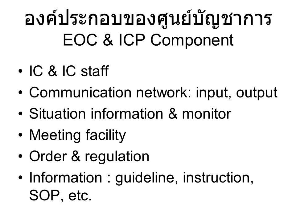 องค์ประกอบของศูนย์บัญชาการ EOC & ICP Component IC & IC staff Communication network: input, output Situation information & monitor Meeting facility Order & regulation Information : guideline, instruction, SOP, etc.