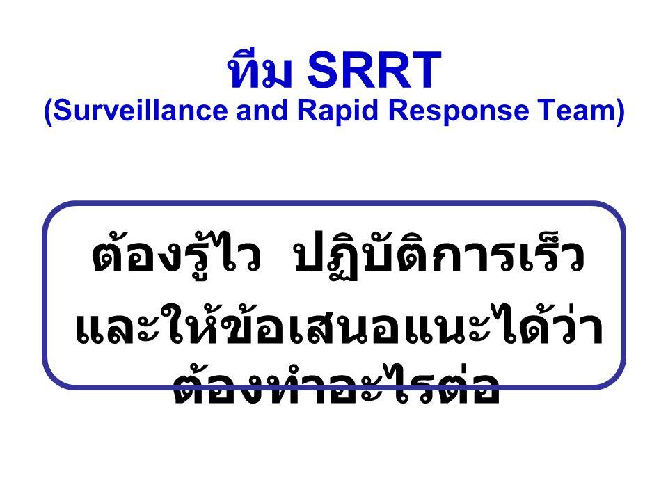 ทีม SRRT (Surveillance and Rapid Response Team) ต้องรู้ไว ปฏิบัติการเร็ว และให้ข้อเสนอแนะได้ว่า ต้องทำอะไรต่อ
