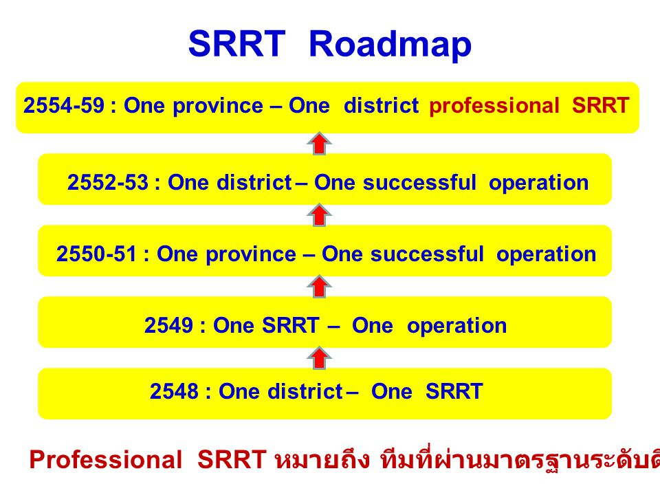 SRRT Roadmap 2554-59 : One province – One district professional SRRT 2552-53 : One district – One successful operation 2550-51 : One province – One su