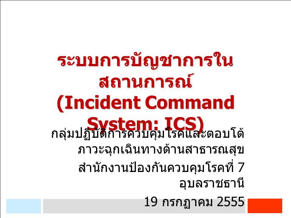 INCIDENT COMMAND SYSTEM (ICS) ขนาดของโครงสร้างองค์กรขึ้นอยู่กับ เหตุการณ์และภารกิจ Unify command สายบังคับบัญชาสาย เดียว รับคำสั่ง รายงานตรงเพียงบุคคลเดียว ระดับ เขต ระดับ กระทรวง / กรม ระดับจังหวัด / พื้นที่ / หน่วยงานย่อย