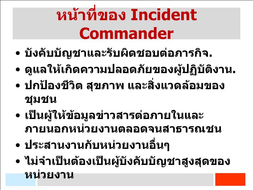 หน้าที่ของ Incident Commander บังคับบัญชาและรับผิดชอบต่อภารกิจ. ดูแลให้เกิดความปลอดภัยของผู้ปฏิบัติงาน. ปกป้องชีวิต สุขภาพ และสิ่งแวดล้อมของ ชุมชน เป็