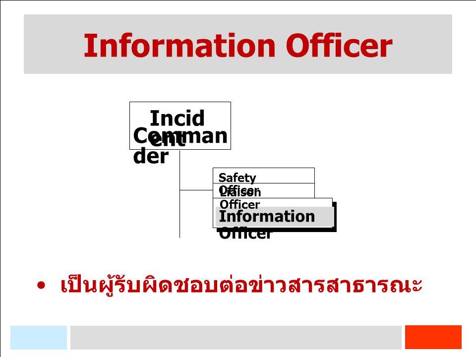 Information Officer Incid ent Comman der เป็นผู้รับผิดชอบต่อข่าวสารสาธารณะ Safety Officer Information Officer Liaison Officer
