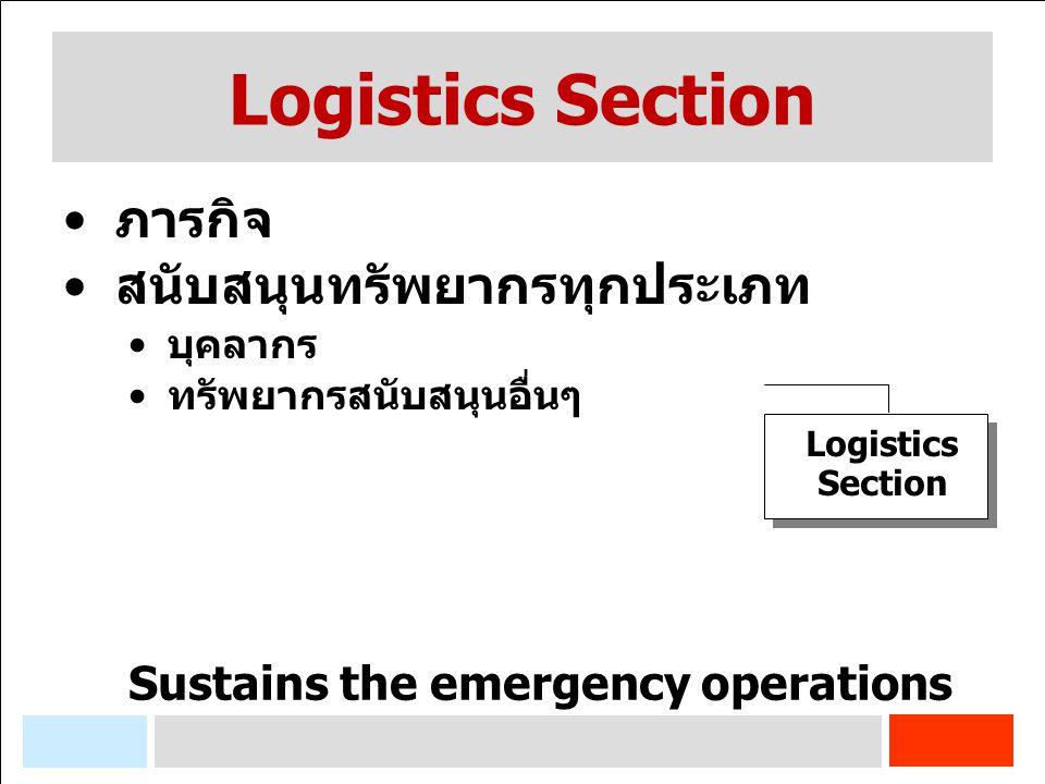 Logistics Section ภารกิจ สนับสนุนทรัพยากรทุกประเภท บุคลากร ทรัพยากรสนับสนุนอื่นๆ Sustains the emergency operations Logistics Section