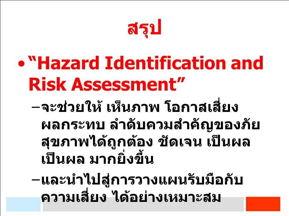 """สรุป """"Hazard Identification and Risk Assessment"""" – จะช่วยให้ เห็นภาพ โอกาสเสี่ยง ผลกระทบ ลำดับควมสำคัญของภัย สุขภาพได้ถูกต้อง ชัดเจน เป็นผล เป็นผล มาก"""
