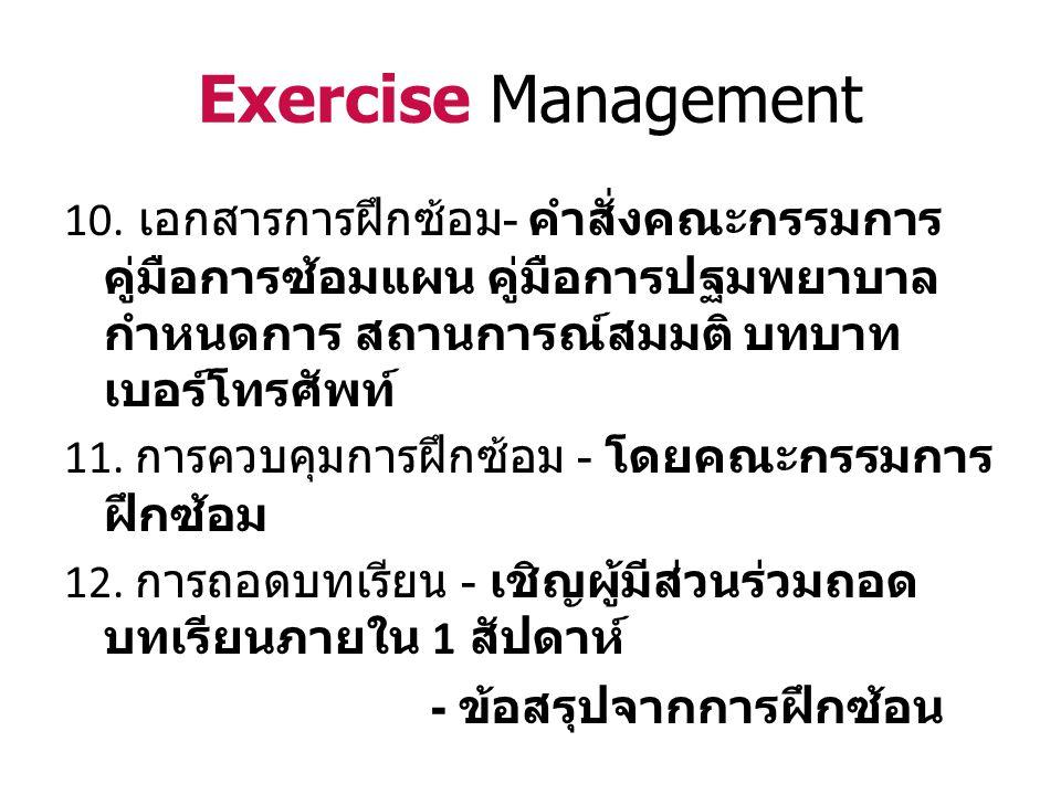 Exercise Management 10. เอกสารการฝึกซ้อม - คำสั่งคณะกรรมการ คู่มือการซ้อมแผน คู่มือการปฐมพยาบาล กำหนดการ สถานการณ์สมมติ บทบาท เบอร์โทรศัพท์ 11. การควบ