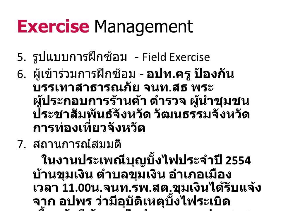 Exercise Management 8. คณะกรรมการวางแผนการฝึกซ้อม