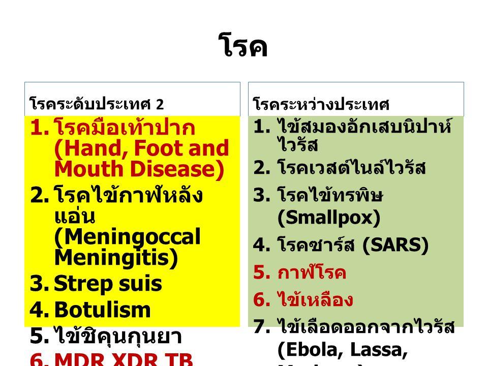 โรค โรคระดับประเทศ 2 1. โรคมือเท้าปาก (Hand, Foot and Mouth Disease) 2. โรคไข้กาฬหลัง แอ่น (Meningoccal Meningitis) 3. Strep suis 4. Botulism 5. ไข้ชิ
