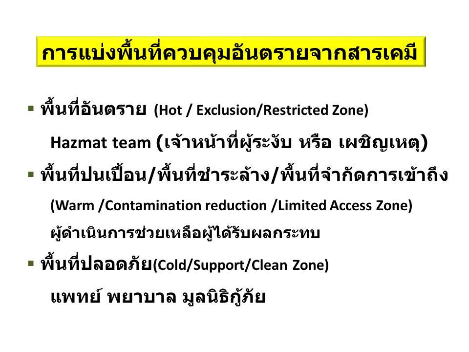 การแบ่งพื้นที่ควบคุมอันตรายจากสารเคมี  พื้นที่อันตราย (Hot / Exclusion/Restricted Zone) Hazmat team ( เจ้าหน้าที่ผู้ระงับ หรือ เผชิญเหตุ )  พื้นที่ปนเปื้อน / พื้นที่ชำระล้าง / พื้นที่จำกัดการเข้าถึง (Warm /Contamination reduction /Limited Access Zone) ผู้ดำเนินการช่วยเหลือผู้ได้รับผลกระทบ  พื้นที่ปลอดภัย (Cold/Support/Clean Zone) แพทย์ พยาบาล มูลนิธิกู้ภัย