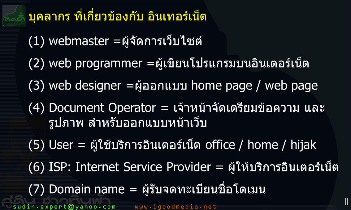 11 บุคลากร ที่เกี่ยวข้องกับ อินเทอร์เน็ต (1)webmaster =ผู้จัดการเว็บไซต์ (2)web programmer =ผู้เขียนโปรแกรมบนอินเตอร์เน็ต (3)web designer =ผู้ออกแบบ home page / web page (4)Document Operator = เจ้าหน้าจัดเตรียมข้อความ และ รูปภาพ สำหรับออกแบบหน้าเว็บ (5)User = ผู้ใช้บริการอินเตอร์เน็ต office / home / hijak (6)ISP: Internet Service Provider = ผู้ให้บริการอินเตอร์เน็ต (7)Domain name = ผู้รับจดทะเบียนชื่อโดเมน