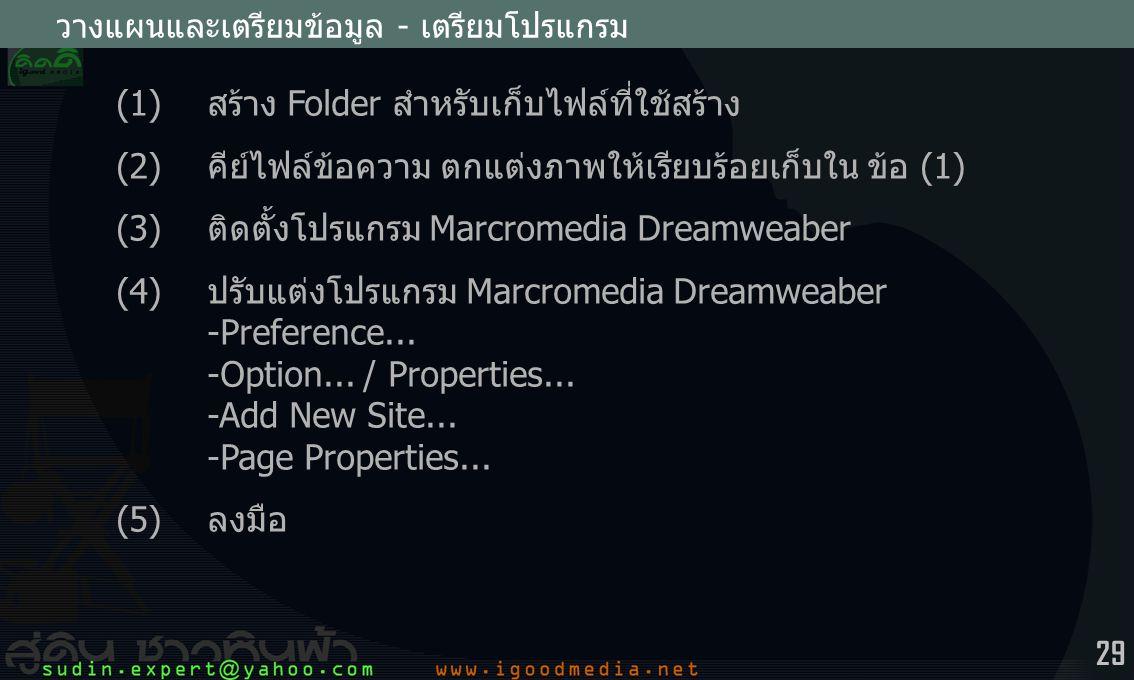 29 วางแผนและเตรียมข้อมูล - เตรียมโปรแกรม (1) สร้าง Folder สำหรับเก็บไฟล์ที่ใช้สร้าง (2) คีย์ไฟล์ข้อความ ตกแต่งภาพให้เรียบร้อยเก็บใน ข้อ (1) (3) ติดตั้งโปรแกรม Marcromedia Dreamweaber (4) ปรับแต่งโปรแกรม Marcromedia Dreamweaber -Preference...