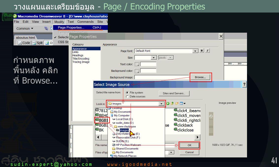 41 วางแผนและเตรียมข้อมูล - Page / Encoding Properties กำหนดภาพ พื้นหลัง คลิก ที่ Browse...