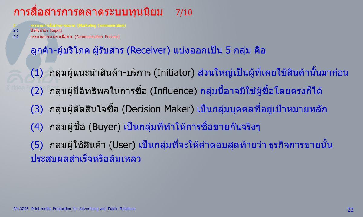 CM.3205 Print media Production for Advertising and Public Relations 22 การสื่อสารการตลาดระบบทุนนิยม 7/10 2.กระบวนการสื่อสารการตลาด (Marketing Communic