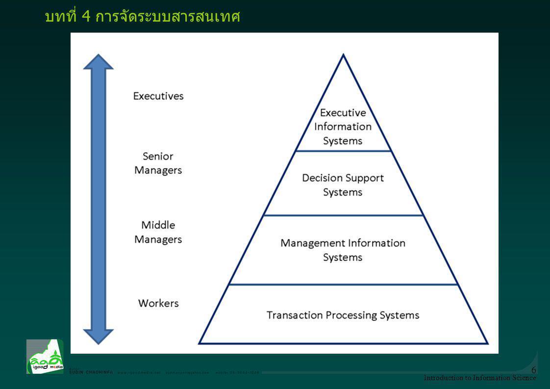 Introduction to Information Science 7 ระบบสารสนเทศ หรือ IS (information system) -ส่วนของระบบ เช่น คลังข้อมูล (data warehouses) การวางแผนทรัพยากรองค์กร ( enterprise resource planning ) ระบบองค์กร ( enterprise systems ) ระบบผู้เชี่ยวชาญ ( expert systems ) ระบบสารสนเทศภูมิศาสตร์ ( geographic information system ) สำนักงานอัตโนมัติ ( office automation ) บทที่ 4 การจัดระบบสารสนเทศ
