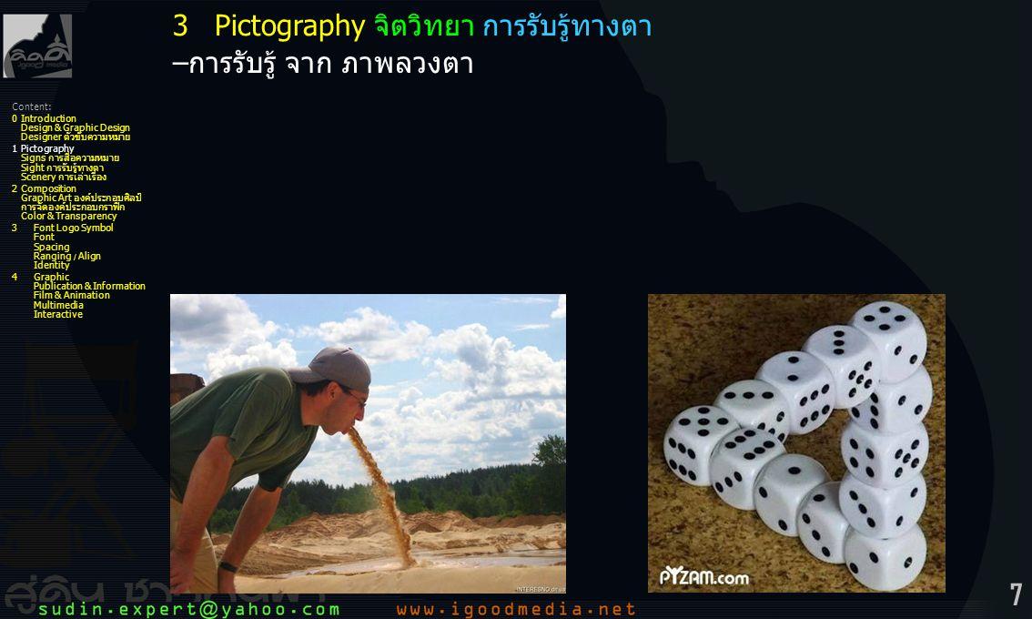 7 3Pictography จิตวิทยา การรับรู้ทางตา –การรับรู้ จาก ภาพลวงตา Content: 0Introduction Design & Graphic Design Designer ตัวขับความหมาย 1Pictography Sig