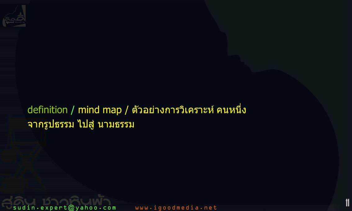 11 definition / mind map / ตัวอย่างการวิเคราะห์ คนหนึ่ง จากรูปธรรม ไปสู่ นามธรรม