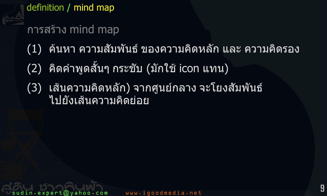 9 การสร้าง mind map (1)ค้นหา ความสัมพันธ์ ของความคิดหลัก และ ความคิดรอง (2)คิดคำพูดสั้นๆ กระชับ (มักใช้ icon แทน) (3)เส้นความคิดหลัก) จากศูนย์กลาง จะโยงสัมพันธ์ ไปยังเส้นความคิดย่อย definition / mind map