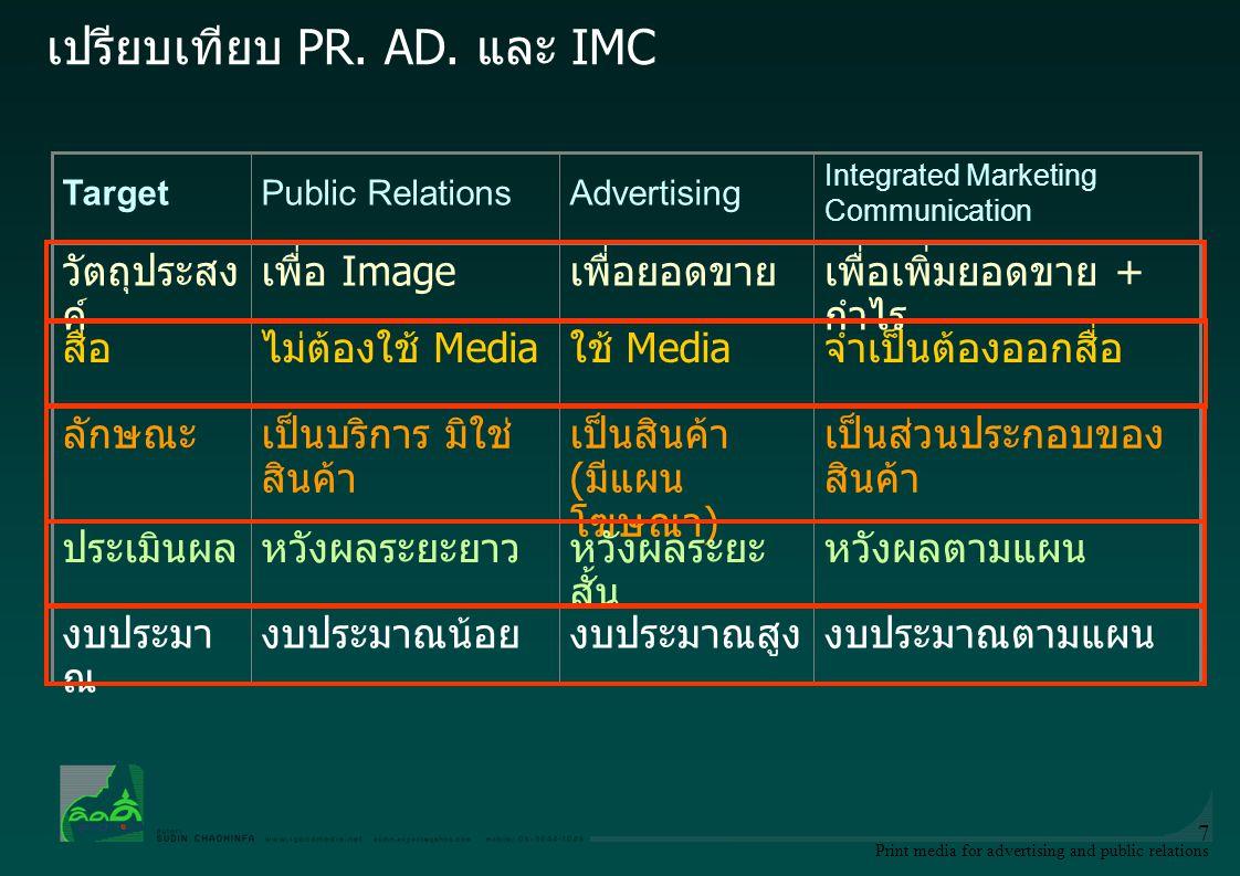 Print media for advertising and public relations 8 การประชาสัมพันธ์ Public Relations หมายถึง การสร้างสัมพันธ์อันดีองค์กรกับประชาชน ในการสร้างภาพลักษณ์ ถือเป็นกิจกรรมทางนิเทศศาสตร์อย่างหนึ่ง อาจใช้การสื่อสารรูปแบบใด รูปแบบหนึ่งหรือหลายรูปแบบ เช่น การสื่อสารระหว่างบุคคล การสื่อสาร ภายในองค์การ การสื่อสารมวลชน การโฆษณา Advertising หมายถึง การแนะนำเผยแพร่สินค้า และหรือบริการ ให้เป็นที่รู้จัก และยอมรับ ซึ่งสินค้าของประชาชนทั่วไป โดยมีวัตถุประสงค์ให้เกิดการซื้อขายสินค้า หรือ บริการที่โฆษณา โดยผู้โฆษณาต้องเปิดเผยตัวเอง และจ่ายเงินเป็นค่า โฆษณา Public Relations and Advertising