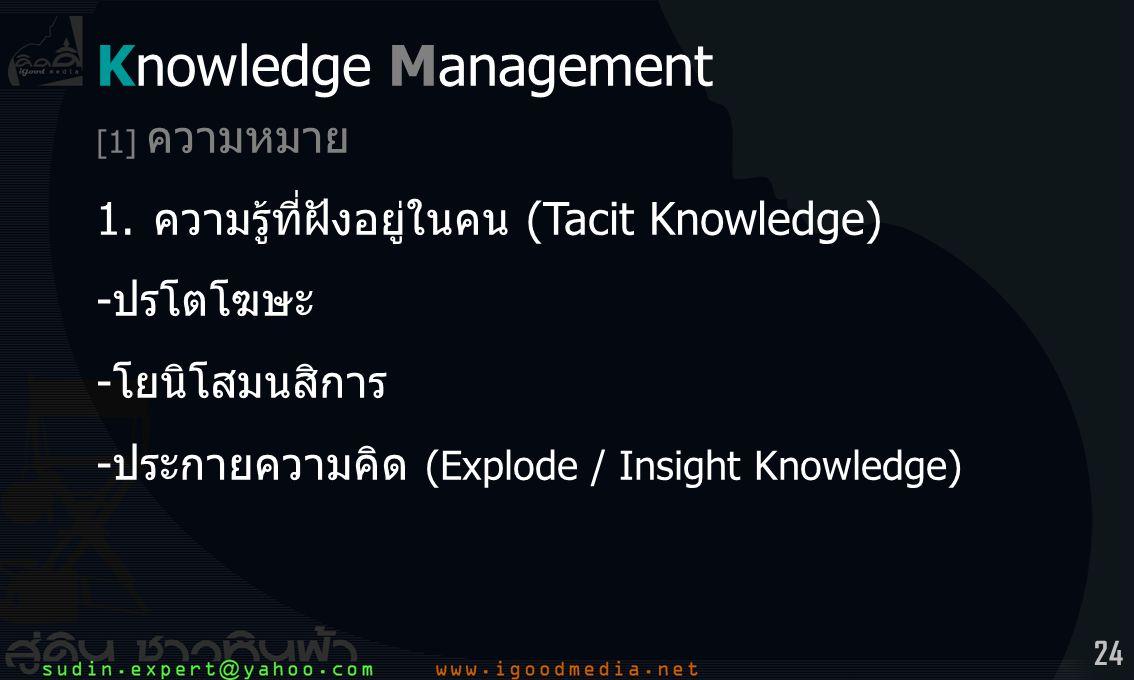 24 Knowledge Management [1] ความหมาย 1.ความรู้ที่ฝังอยู่ในคน (Tacit Knowledge) -ปรโตโฆษะ -โยนิโสมนสิการ -ประกายความคิด (Explode / Insight Knowledge)