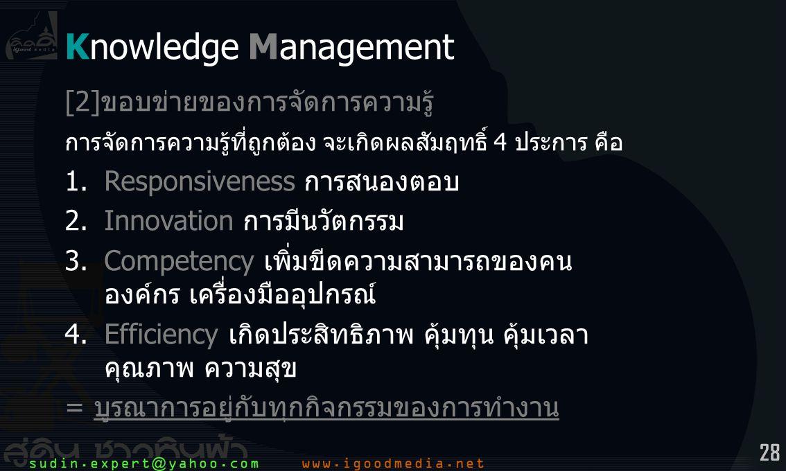 28 Knowledge Management [2]ขอบข่ายของการจัดการความรู้ การจัดการความรู้ที่ถูกต้อง จะเกิดผลสัมฤทธิ์ 4 ประการ คือ 1.Responsiveness การสนองตอบ 2.Innovation การมีนวัตกรรม 3.Competency เพิ่มขีดความสามารถของคน องค์กร เครื่องมืออุปกรณ์ 4.Efficiency เกิดประสิทธิภาพ คุ้มทุน คุ้มเวลา คุณภาพ ความสุข = บูรณาการอยู่กับทุกกิจกรรมของการทำงาน