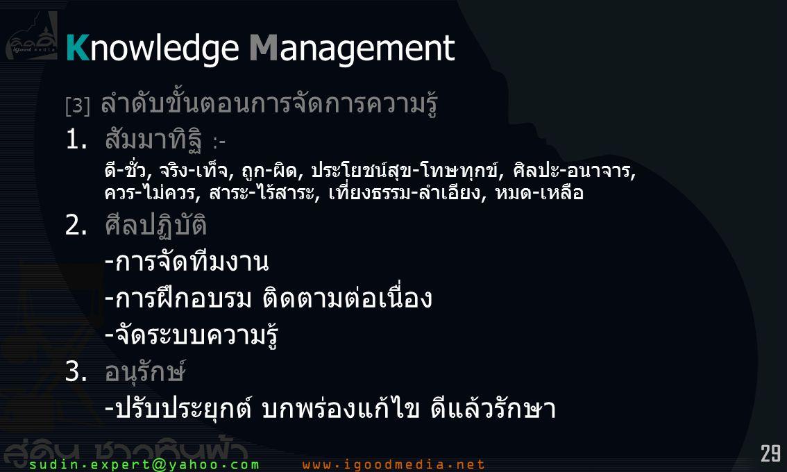 29 Knowledge Management [3] ลำดับขั้นตอนการจัดการความรู้ 1.สัมมาทิฐิ :- ดี-ชั่ว, จริง-เท็จ, ถูก-ผิด, ประโยชน์สุข-โทษทุกข์, ศิลปะ-อนาจาร, ควร-ไม่ควร, สาระ-ไร้สาระ, เที่ยงธรรม-ลำเอียง, หมด-เหลือ 2.ศีลปฏิบัติ -การจัดทีมงาน -การฝึกอบรม ติดตามต่อเนื่อง -จัดระบบความรู้ 3.อนุรักษ์ -ปรับประยุกต์ บกพร่องแก้ไข ดีแล้วรักษา