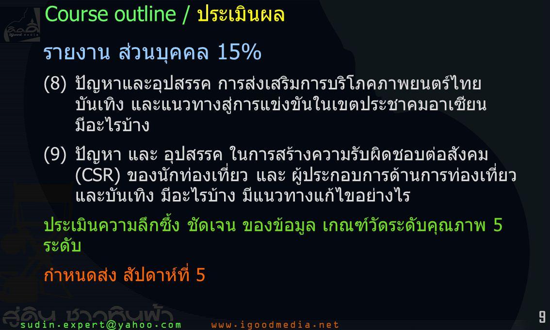 10 รายงาน กลุ่มคณะ 20% + 15% (1) สื่อมัลติมีเดีย – คลิป – webpage กำหนดหัวข้อเอง – การท่องเที่ยวไทย – การบันเทิง – CSR ที่เกี่ยวกับ การท่องเที่ยว บันเทิง (2) หน้าเว็บออนไลน์ – domain name – update upload ประเมินจาก หลักนิเทศศิลป์ – นิเทศโสตทัศน์ และความลึกซึ้งของ ข้อมูล เกณฑ์วัดระดับคุณภาพ 5 ระดับ กำหนดส่ง สัปดาห์ที่ 6-7 Course outline / ประเมินผล