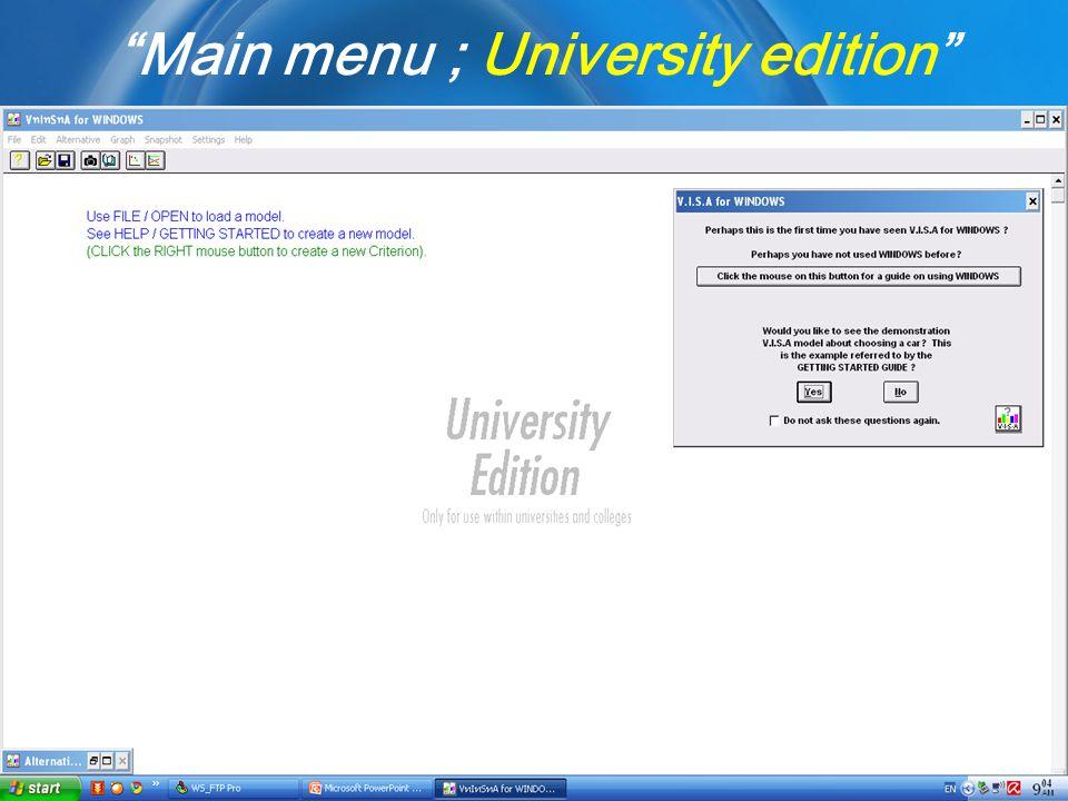 "Kulachatr C.NaAyudhya ""Main menu ; University edition"""
