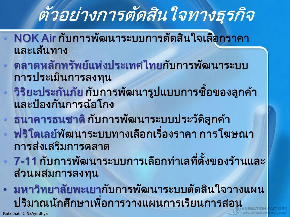 ตัวอย่างการตัดสินใจทางธุรกิจ Kulachatr C.NaAyudhya NOK AirNOK Air กับการพัฒนาระบบการตัดสินใจเลือกราคา และเส้นทาง ตลาดหลักทรัพย์แห่งประเทศไทยตลาดหลักทร