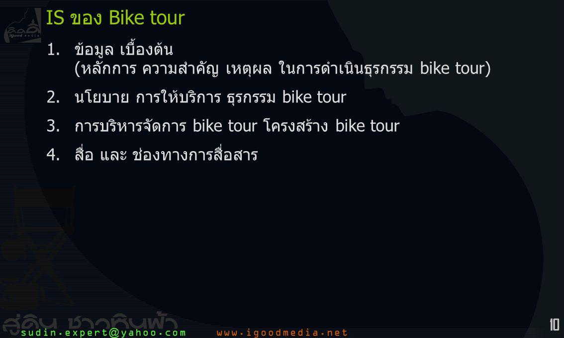 10 1.ข้อมูล เบื้องต้น (หลักการ ความสำคัญ เหตุผล ในการดำเนินธุรกรรม bike tour) 2.นโยบาย การให้บริการ ธุรกรรม bike tour 3.การบริหารจัดการ bike tour โครงสร้าง bike tour 4.สื่อ และ ช่องทางการสื่อสาร IS ของ Bike tour