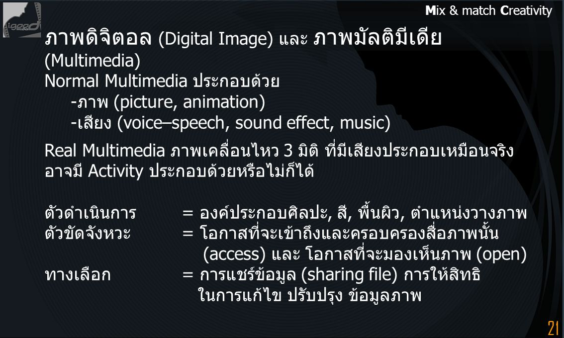 21 ภาพดิจิตอล (Digital Image) และ ภาพมัลติมีเดีย (Multimedia) Normal Multimedia ประกอบด้วย -ภาพ (picture, animation) -เสียง (voice–speech, sound effec