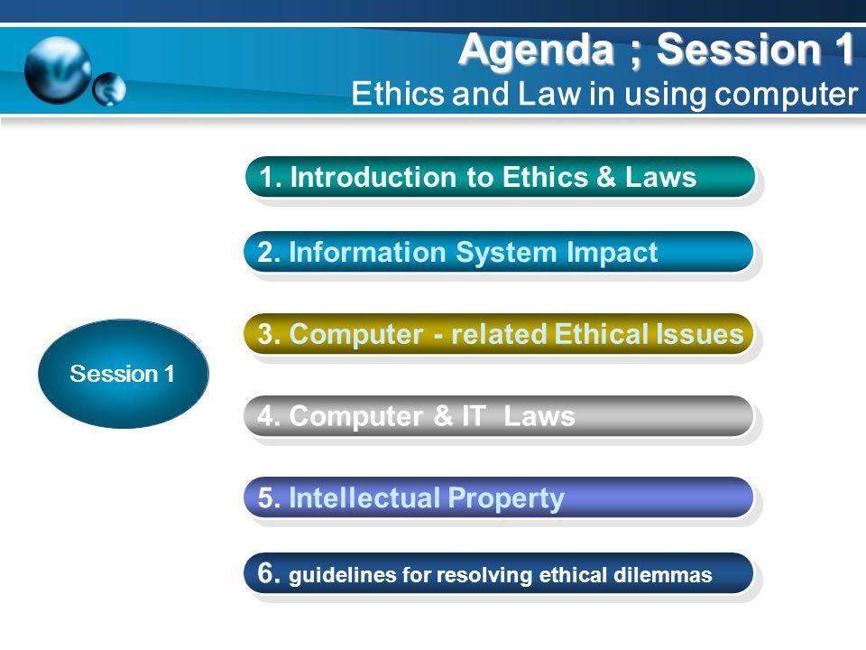 Agenda ; Session 1 Agenda ; Session 1 Ethics and Law in using computer 2. Information System Impact 3. Computer - related Ethical Issues 5. Intellectu