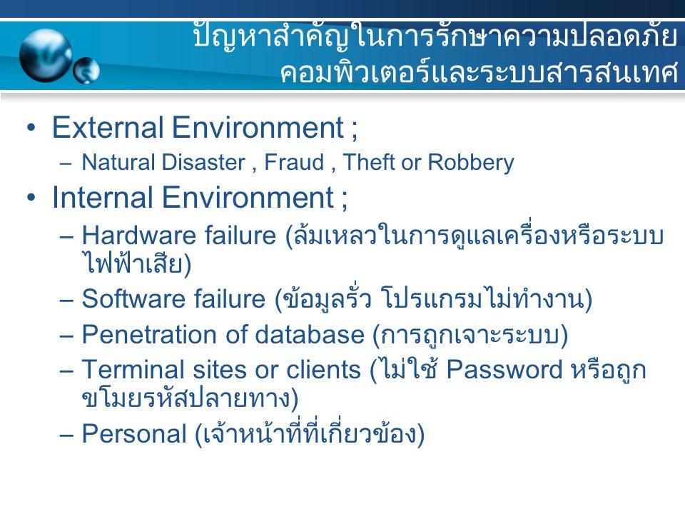ปัญหาสำคัญในการรักษาความปลอดภัย คอมพิวเตอร์และระบบสารสนเทศ External Environment ; –Natural Disaster, Fraud, Theft or Robbery Internal Environment ; –Hardware failure (ล้มเหลวในการดูแลเครื่องหรือระบบ ไฟฟ้าเสีย) –Software failure (ข้อมูลรั่ว โปรแกรมไม่ทำงาน) –Penetration of database (การถูกเจาะระบบ) –Terminal sites or clients (ไม่ใช้ Password หรือถูก ขโมยรหัสปลายทาง) –Personal (เจ้าหน้าที่ที่เกี่ยวข้อง)