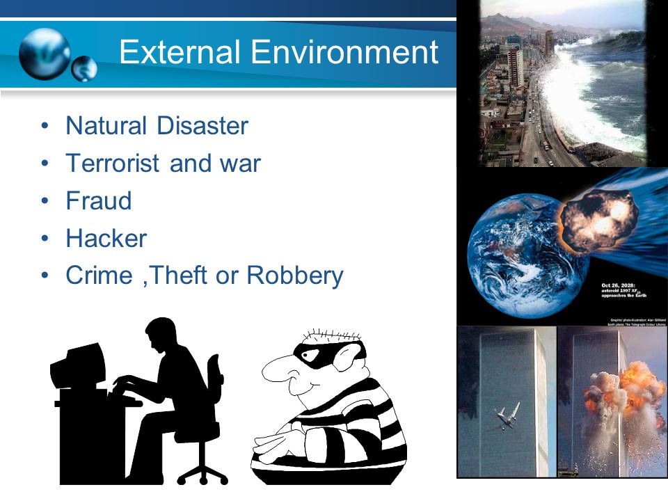 External Environment Natural Disaster Terrorist and war Fraud Hacker Crime,Theft or Robbery
