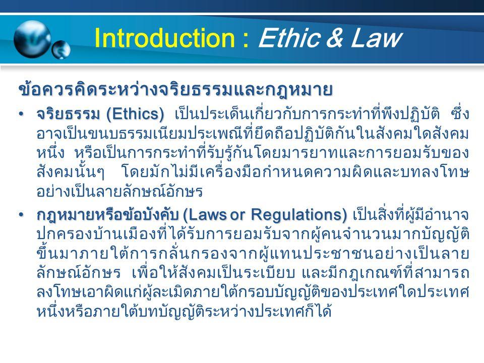 ตัวอย่าง IT ที่ผิดจริยธรรมและละเมิดกฎหมาย สังคมเกมส์ออนไลน์ผิดจริยธรรมทำให้พฤติกรรมเยาวชนไทยเปลี่ยนไปติดเกมส์ และเกิดการละเมิดกฎหมายลิขสิทธิ์กันอย่างมากมาย
