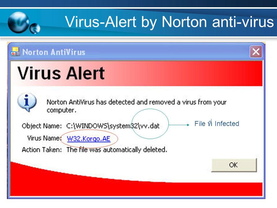 Virus Scan by Norton anti-virus W32.Spybot.Worm