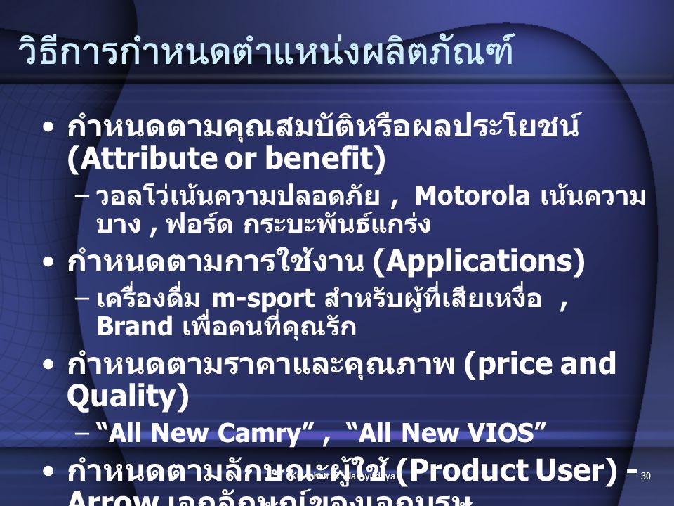 Kulachatr C. Na Ayudhya29 3.Positioning การกำหนดตำแหน่งผลิตภัณฑ์ การกำหนดลักษณะทางกายภาพของสินค้า –ภาพพจน์ในตราสินค้า –คุณภาพกับราคา –ลักษณะการนำไปใช้