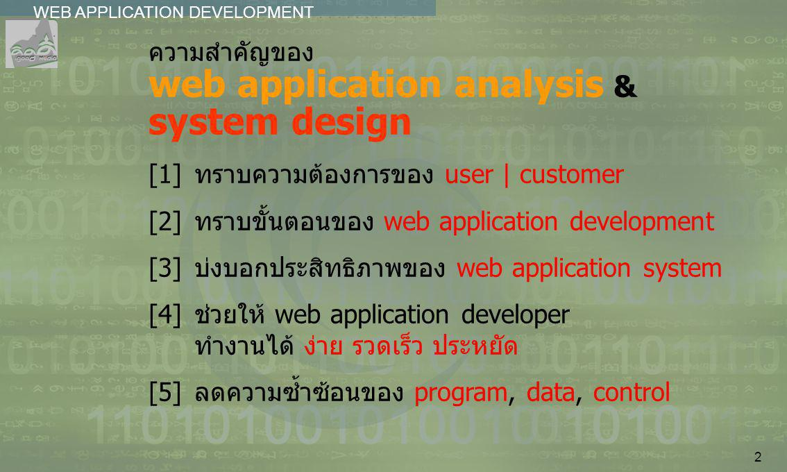 2 WEB APPLICATION DEVELOPMENT................ ความสำคัญของ web application analysis & system design [1]ทราบความต้องการของ user | customer [2]ทราบขั้นต