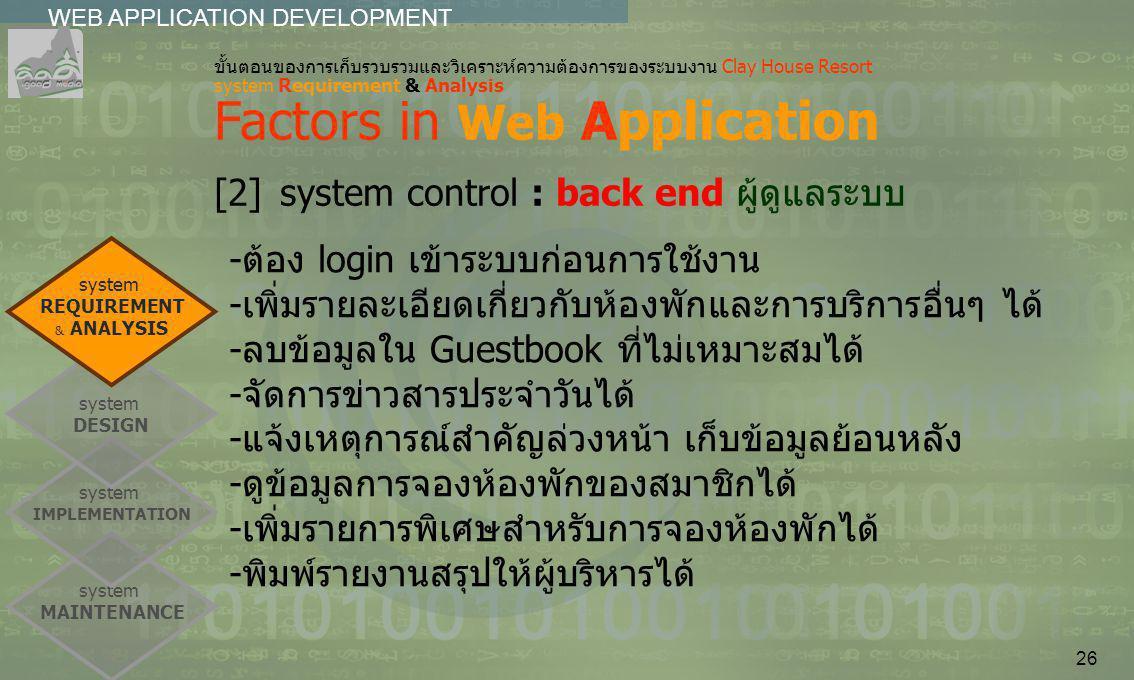 26 system MAINTENANCE system IMPLEMENTATION WEB APPLICATION DEVELOPMENT................