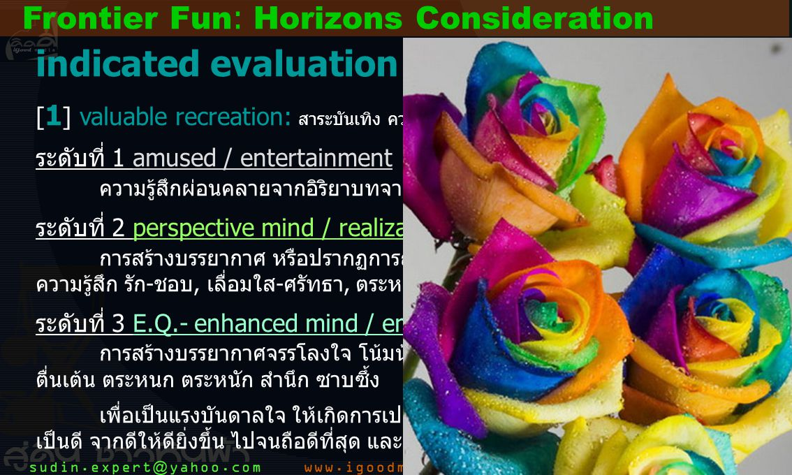 23 indicated evaluation [ 1 ] valuable recreation: สาระบันเทิง ความบันเทิง 3 ระดับ นำเสนอเนื้อหาที่บ่งบองถึง...