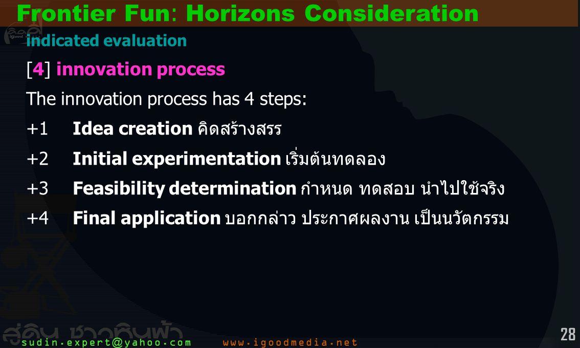 28 indicated evaluation [4] innovation process The innovation process has 4 steps: +1Idea creation คิดสร้างสรร +2Initial experimentation เริ่มต้นทดลอง +3Feasibility determination กำหนด ทดสอบ นำไปใช้จริง +4Final application บอกกล่าว ประกาศผลงาน เป็นนวัตกรรม Frontier Fun: Horizons Consideration
