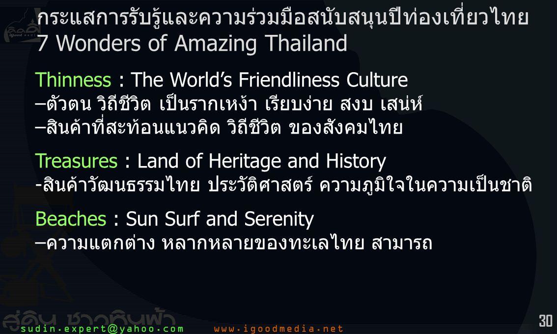 30 Thinness : The World's Friendliness Culture –ตัวตน วิถีชีวิต เป็นรากเหง้า เรียบง่าย สงบ เสน่ห์ –สินค้าที่สะท้อนแนวคิด วิถีชีวิต ของสังคมไทย Treasures : Land of Heritage and History -สินค้าวัฒนธรรมไทย ประวัติศาสตร์ ความภูมิใจในความเป็นชาติ Beaches : Sun Surf and Serenity –ความแตกต่าง หลากหลายของทะเลไทย สามารถ กระแสการรับรู้และความร่วมมือสนับสนุนปีท่องเที่ยวไทย 7 Wonders of Amazing Thailand