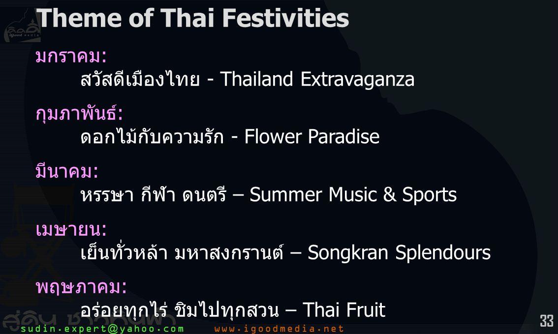 33 มกราคม: สวัสดีเมืองไทย - Thailand Extravaganza กุมภาพันธ์: ดอกไม้กับความรัก - Flower Paradise มีนาคม: หรรษา กีฬา ดนตรี – Summer Music & Sports เมษายน: เย็นทั่วหล้า มหาสงกรานต์ – Songkran Splendours พฤษภาคม: อร่อยทุกไร่ ชิมไปทุกสวน – Thai Fruit Theme of Thai Festivities